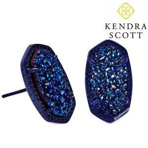 NWT Kendra Scott Ellie Earrings in Blue Gunmetal
